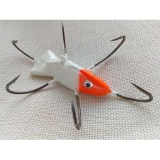 """Приманка - краб """"Белая рыбка с оранжевой головой"""" (6 крючков) авторский"""