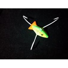 """Приманка """"Краб"""" малый (Желтая рыбка с блестками) 3 крючка (ручная работа)"""