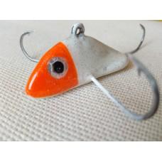 """Приманка - краб малый """"Белая рыбка с оранжевой головой"""" (3 крючка) авторский"""