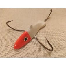 """Приманка - краб """"Белая рыбка с оранжевой головой"""" (3 крючка) авторский"""